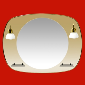 Foto 13 - Espejo Oval 80x60cm con Luna 50cm, 2 Tulipas, 2 Repisas de