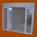 Foto 8018 - Botiquín Rectangular, 2 Módulos, 2 Luces, Repisa, Puertas con espejo rectang de
